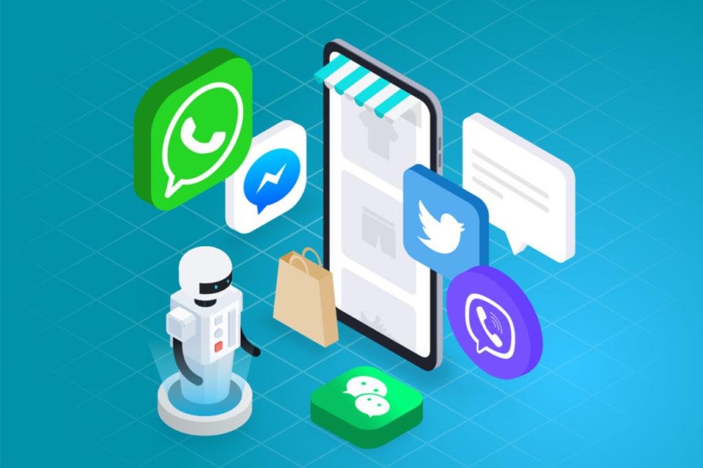 illustration téléphone avec logos réseaux sociaux et messageries conversationnelles