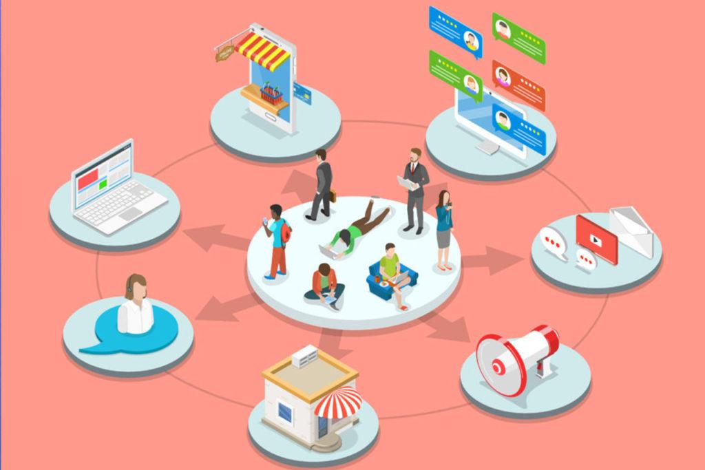 illustration consommateurs au milieu de plusieurs choix : magasin, en ligne, réseaux sociaux, chat, messagerie instantanée...