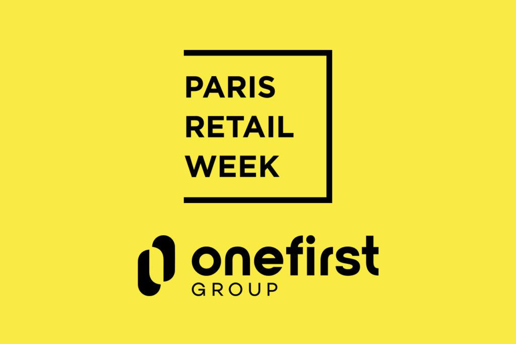 logo Paris Retail Week et logo Onefirst sur fond jaune